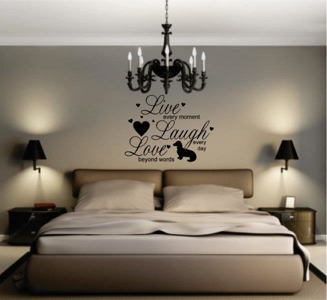 Wall Decal - LIVE, LAUGH, LOVE - Long Haired Dachshund