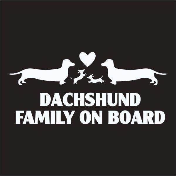 Car Sticker - Dachshund Family on Board (1)