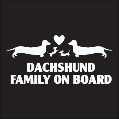 Car Sticker - Dachshund Family on Board (1)