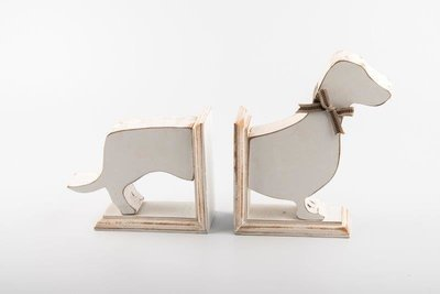 Dachshund Bookends - White