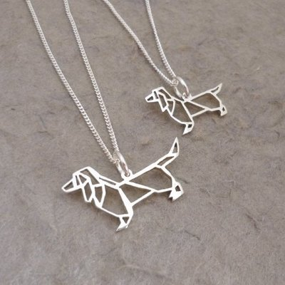Silver Pendant and Chain - Origami inspired Dachshund - Small