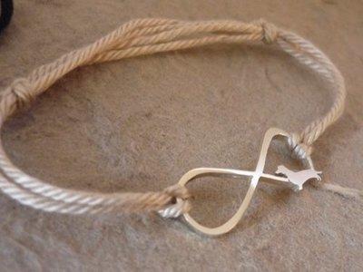 Sterling Silver Dachshund Infinity Bracelet - Beige