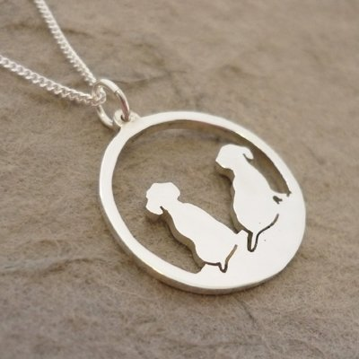 Sterling Silver Dachshund Silhouette Circle Pendant & Chain