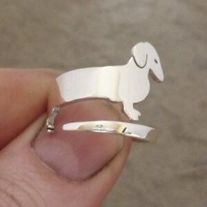 Sterling Silver Dachshund Wrap Ring