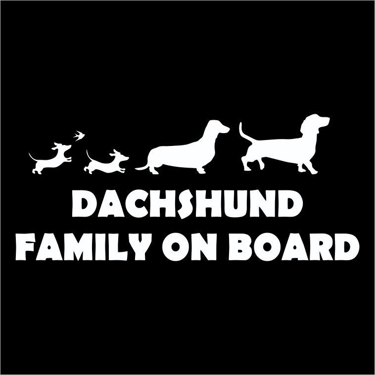 Car Sticker - Dachshund Family on Board (2)