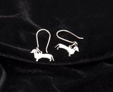 ​Sterling Silver Dachshund Earrings - Dangling