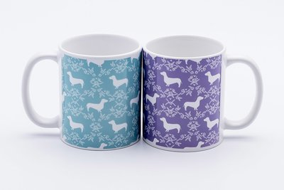 Pretty Pattern Dachshund Mugs - Teal, Purple or Black