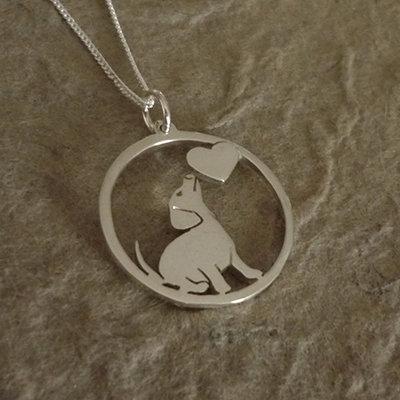 Sterling Silver Dachshund & Heart Silhouette Circle Pendant & Chain