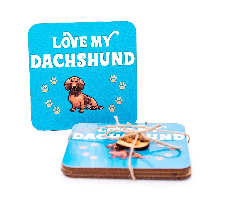 Set of Dachshund Coasters Design 1 - Love My Dachshund