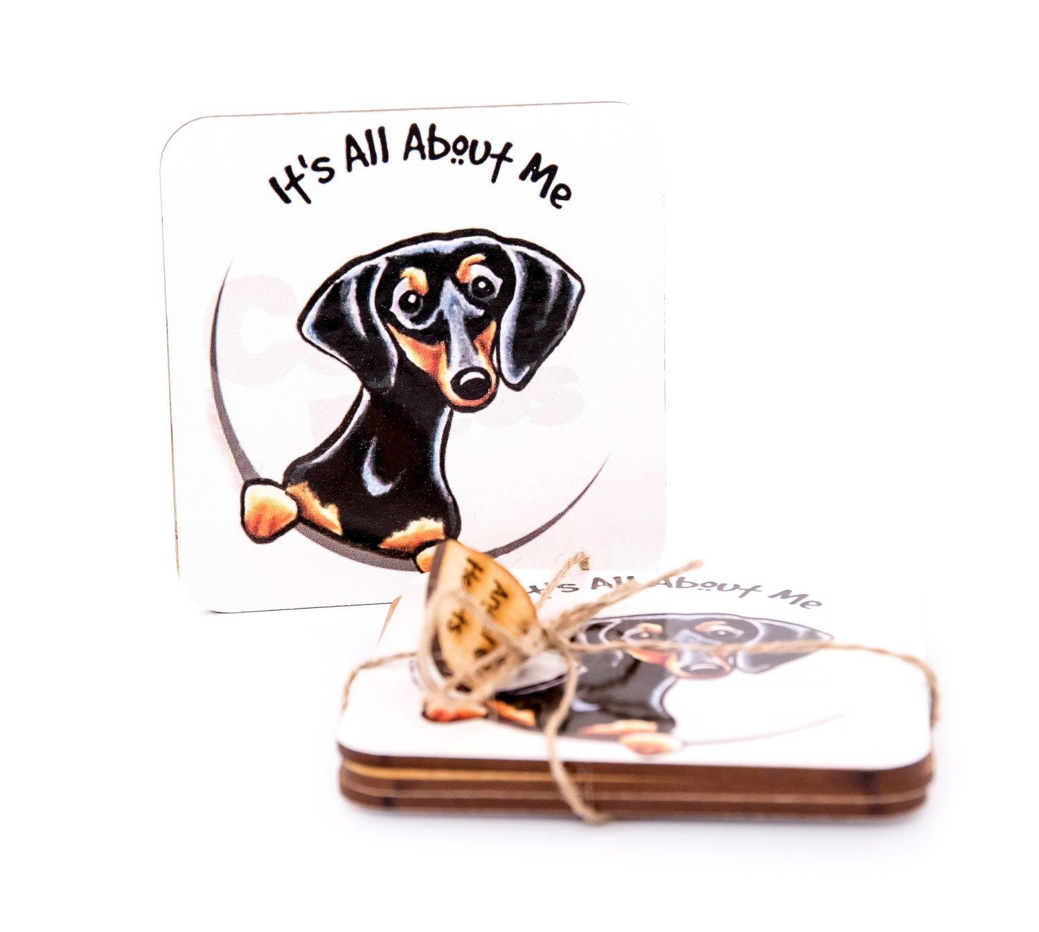 ​Set of Dachshund Coasters Design 3 - It's All About Me!!