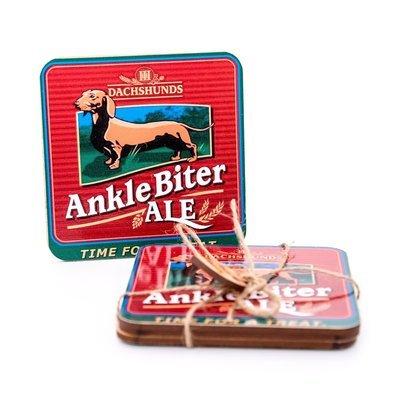 Set of Dachshund Coasters Design 4 - Ankle Biter Ale