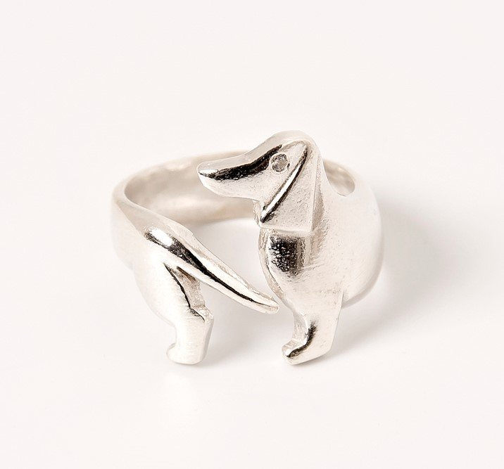 Sterling Silver Dachshund Wrap Ring 2