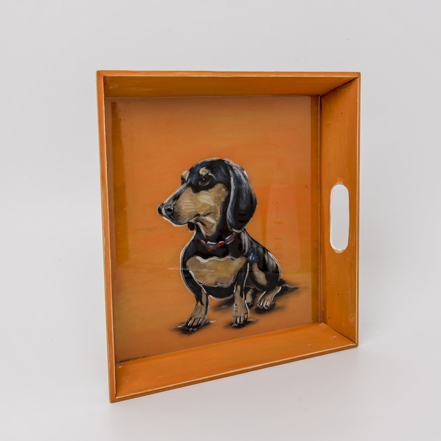 Handpainted Tray - Black & Tan Dog