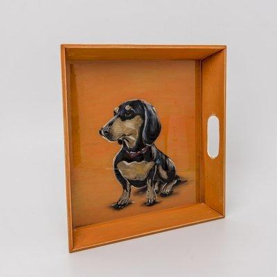 Handpainted Tray - Black & Tan Dog