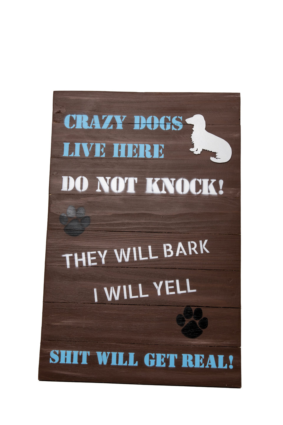 Sign - Long Haired Dachshund - White