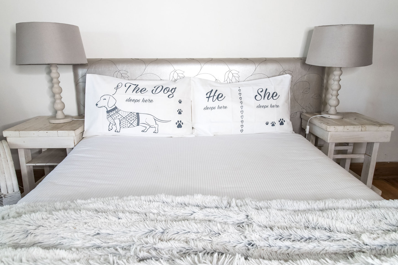 Long Dog Pillow Slip Sets - White with Dark Grey Print