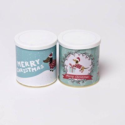 Christmas Themed Dachshund Tins - Small  - Set of Two