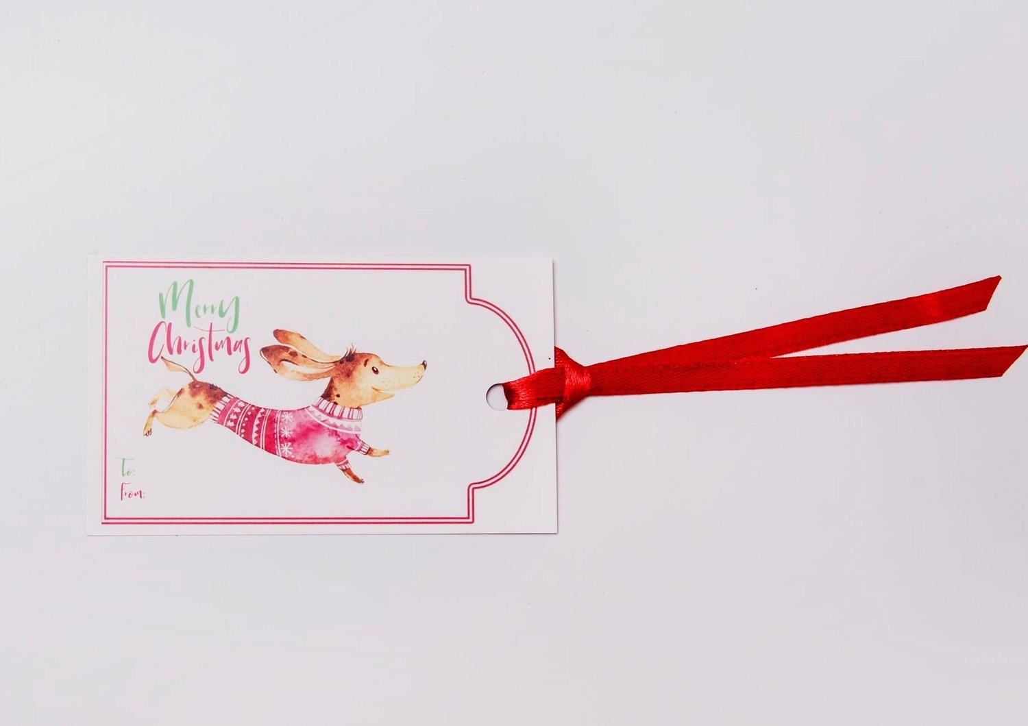 ​Christmas Gift Tags - Dachshund in Coat - Red