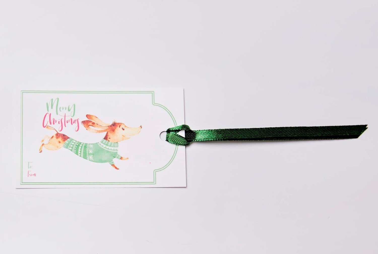 ​​Christmas Gift Tags - Dachshund in Coat​ - Green
