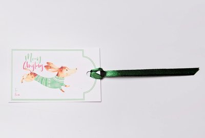 Christmas Gift Tags - Dachshund in Coat - Green