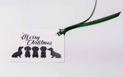 Christmas Gift Tags - Mixed Dachshunds - Black and White