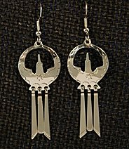 Earrings:  Waterbird with Fringed Tail,  1 3/4