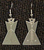 Earrings:  Tipis, 1 piece, 1 3/4