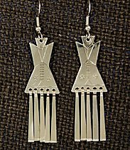 Earrings:  Tipis with Fringes,  1 3/4