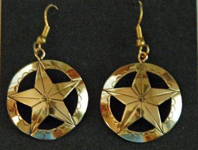 Earrings:  Star In Circle, 1 1/2