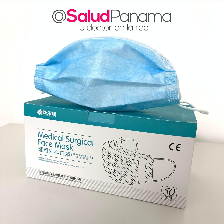 Mascarilla Quirúrgica CERTIFICADA DE USO MÉDICO de 3 Capas - Caja de 50 unidades