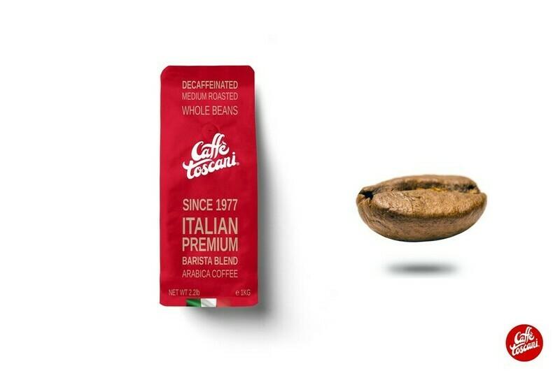 Caffè Toscani®, Decaf, Arabica Roasted Coffee Beans 1Kg (2.2lb)