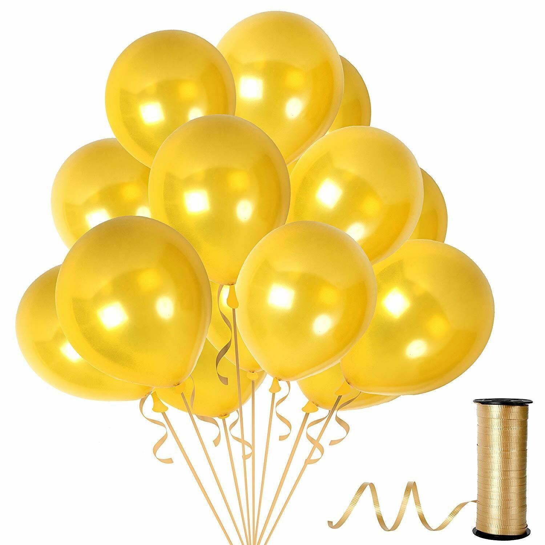 12 Inch Gold Metallic Latex Balloons