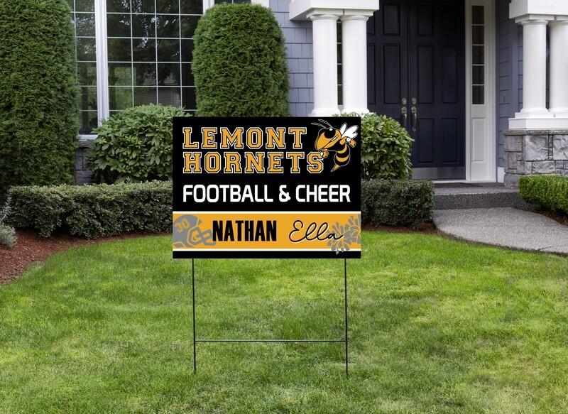 Hornet's Double Football & Cheer Yard Sign