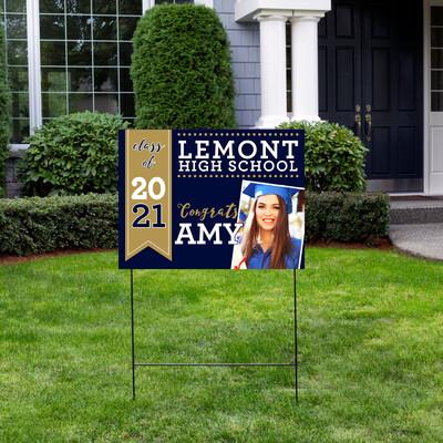 Lemont High School PHOTO Graduation Yard Sign