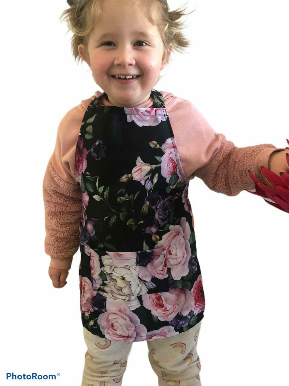 Kids apron - full floral print with front pocket
