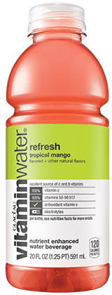 Glaceau Vitamin Water 20 oz - Refresh (Tropical Mango) - Case of 24