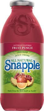 Snapple 16 oz  New Plastic Bottle Fruit Punch - Case of 24