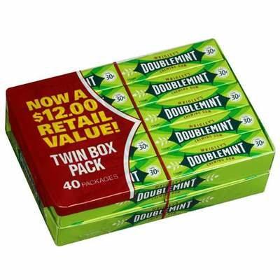 Wrigley's 30 Cents Size Gum - Double Mint 40 Count