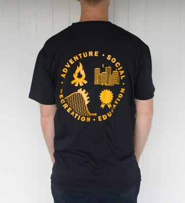 Four Streams Tee: Navy with Gold Print