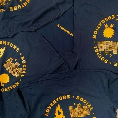 Four Streams Long Sleeve Tee - Navy with Gold Print