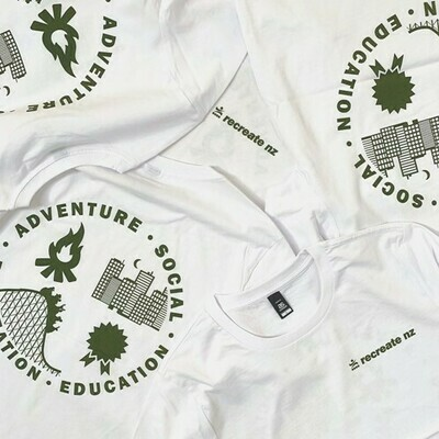Four Streams Long Sleeve Tee - White with Olive Print