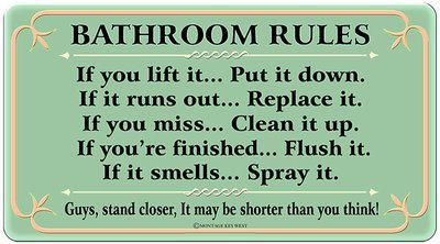 BATHROOM RULES * 6'' x 11''