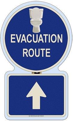 EVACUATION UP BATHROOM * 7'' x 11''