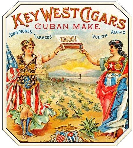 KEY WEST CIGARS CUBAN MAKE * 8'' x 9''