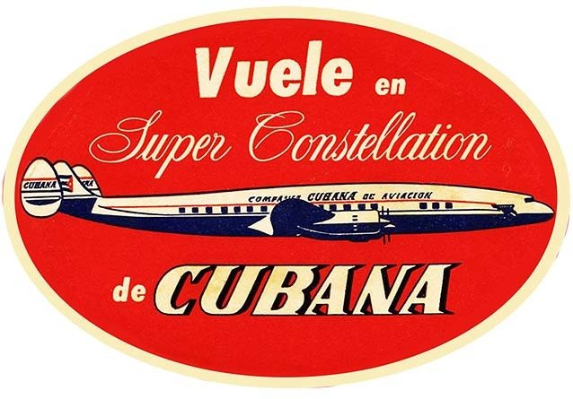 CUBANA AIRLINES VINTAGE LABEL * 8'' x 11'' 10182