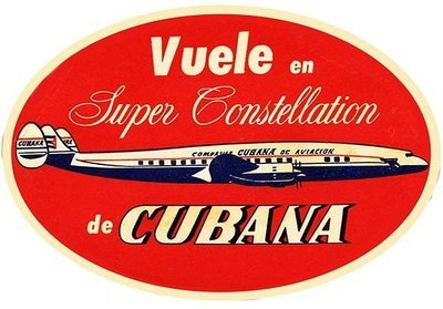 CUBANA AIRLINES VINTAGE LABEL * 8'' x 11''