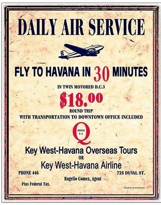 DAILY AIR SERVICE TO HAVANA * 8'' x 11''
