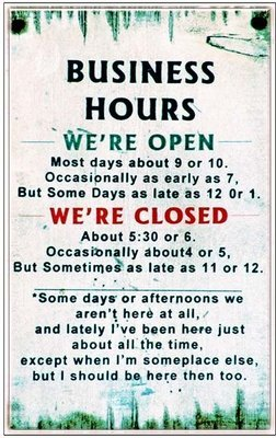 BUSINESS HOURS * 6'' x 11''