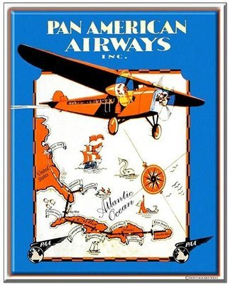 PA AM AIRWAYS MAP * 7'' x 11''