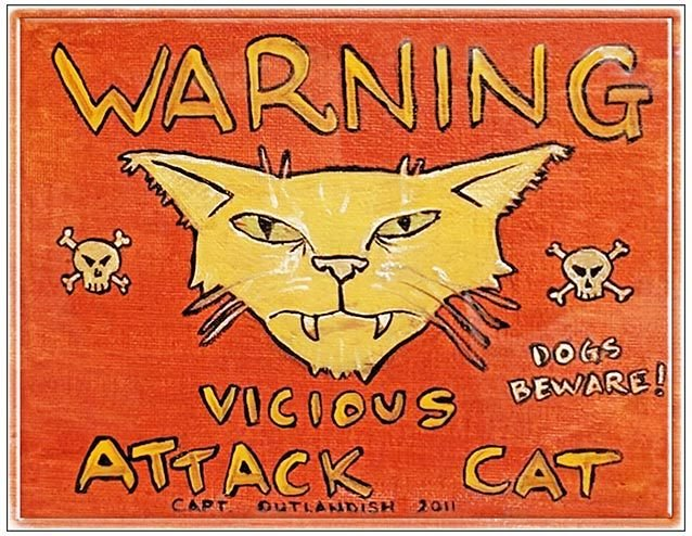 WARNING VICIOUS CAT * 8'' x  10'' 10542